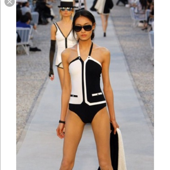 cb80eea164c5 CHANEL Other - Vintage two tone CHANEL one piece swimsuit
